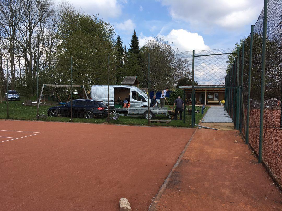 Teil eines Tennisplatzes
