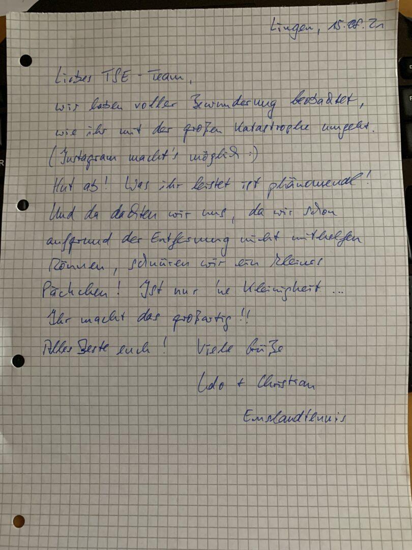 Ein handgeschriebener Brief der Firma Emslandtennis aus Lingen.